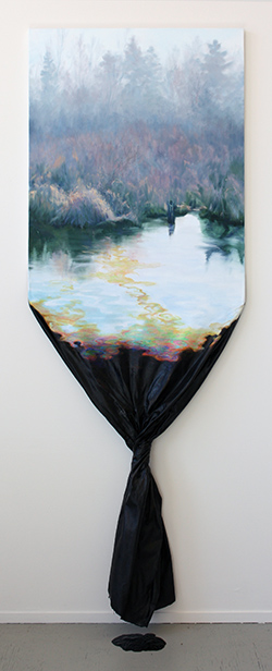 "Spill, mixed media, 77""x28""x8"""